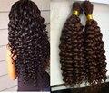 Malaysian Virgin Hair Kinky Curly Human Braiding Hair Bulk No Weft Human Hair for Micro Braids Kinky Curly Bulk Human Hair Borwn