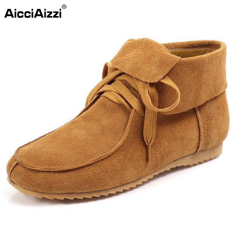 Winter Women Flat Genuine Leather With Fur Lace Up Fashion Ankle Snow Boots Real Leather Casual Boots Women Shoes Size 32-42 front lace up casual ankle boots autumn vintage brown new booties flat genuine leather suede shoes round toe fall female fashion