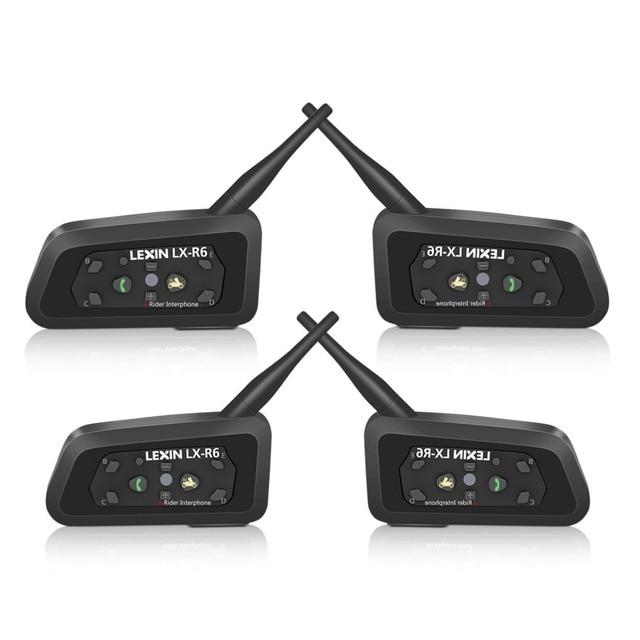 Lexin Novo 2017 4 PCS R6 1200 M Capacete Da Motocicleta Do Bluetooth Interfone até 6 Pilotos Interphone Headsets Sem Fio À Prova D' Água GPS MP3