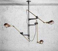 Ретро Винтаж Лофт Промышленные Люстра потолочная лампа простой магазин освещения 3 головки подвесные коммерческих огни