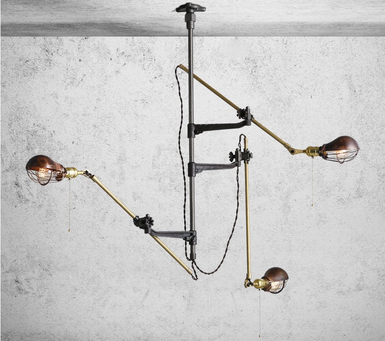 Retro Vintage Loft Industrial chandelier ceiling lamp simple shop lighting 3 heads pendant commercial lightsRetro Vintage Loft Industrial chandelier ceiling lamp simple shop lighting 3 heads pendant commercial lights