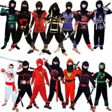Boy Ninja Costumes Cosplay Classic Halloween Ninja Clothes Cosplay Purim Carnival Kids Uniforms  Party
