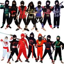 Disfraces de Ninja para niños, ropa de Halloween clásica, Cosplay Ninja, carnaval, fiesta