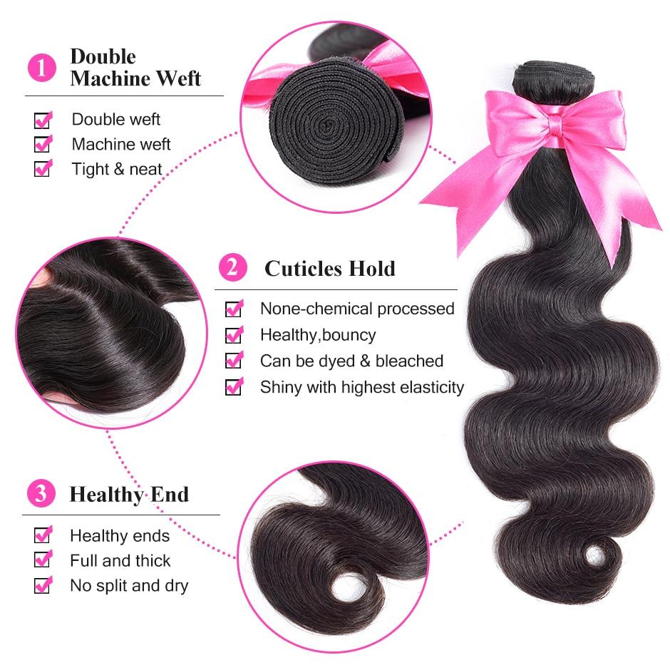 ISEE 4 Bundles Body Wave Hair Bundles Peruvian Human Hair Bundles 100% Remy Hair Weave Free Shipping Nature Color Hair Extension