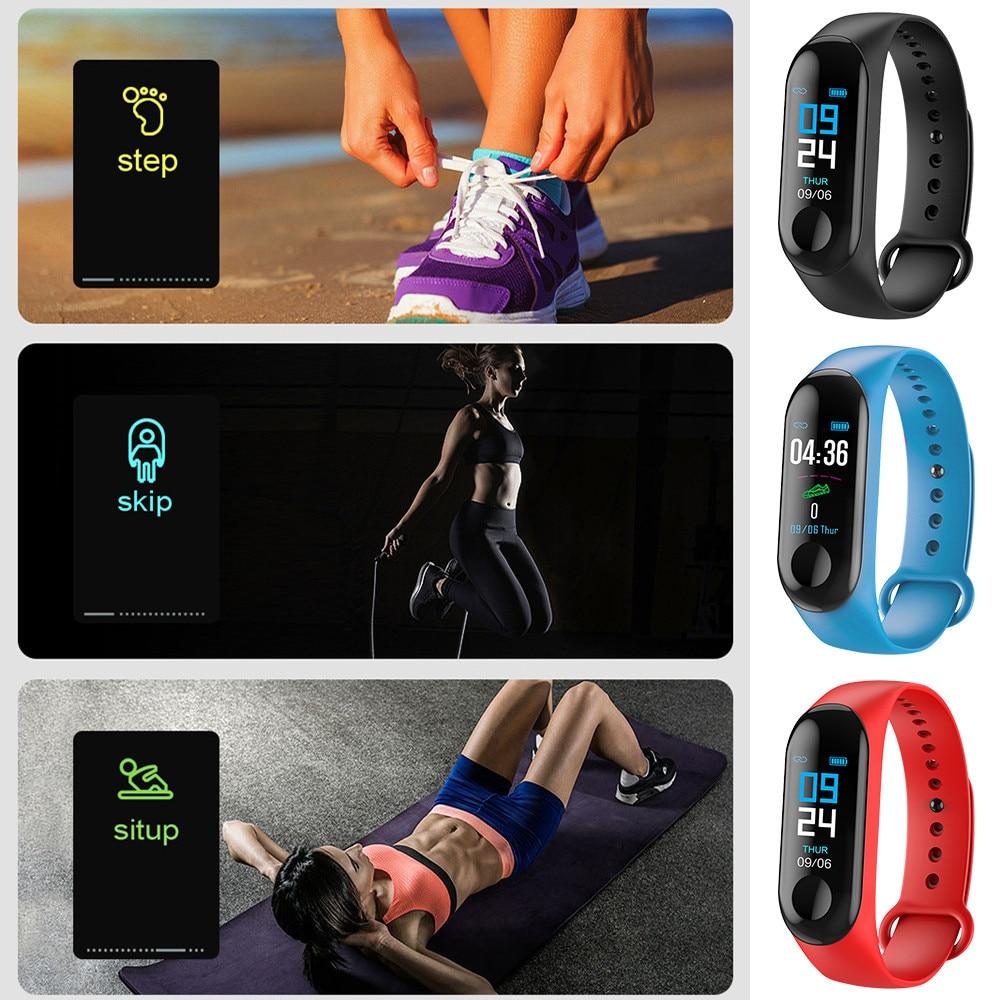 HTB1CRGja2WG3KVjSZFgq6zTspXaN M3 Smart Watch Bracelet Band Fitness Tracker Messages Reminder Color Screen Waterproof Sport Wristband For men women