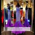 Sexy 2016 Sereia Vestidos de Baile Robe De Soirée Longue de Cintas de Espaguete Rhinestone Cristal Roxo Chiffon Vestidos de Noite