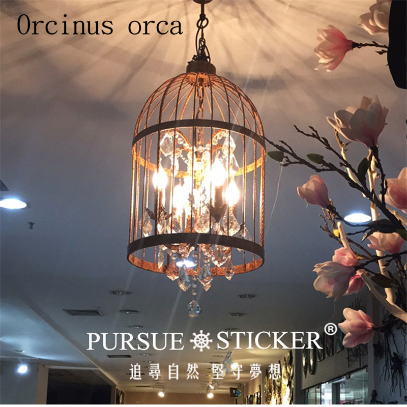 Nordic American Industrial Village Retro Living Room Bedroom Den Restaurant Creative Crystal Chandelier Birdcage Lamp AC110-240V