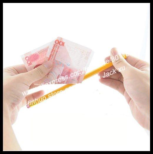 Pencil Thru Money magic tricks 100pcs/lot for magic show wholesale