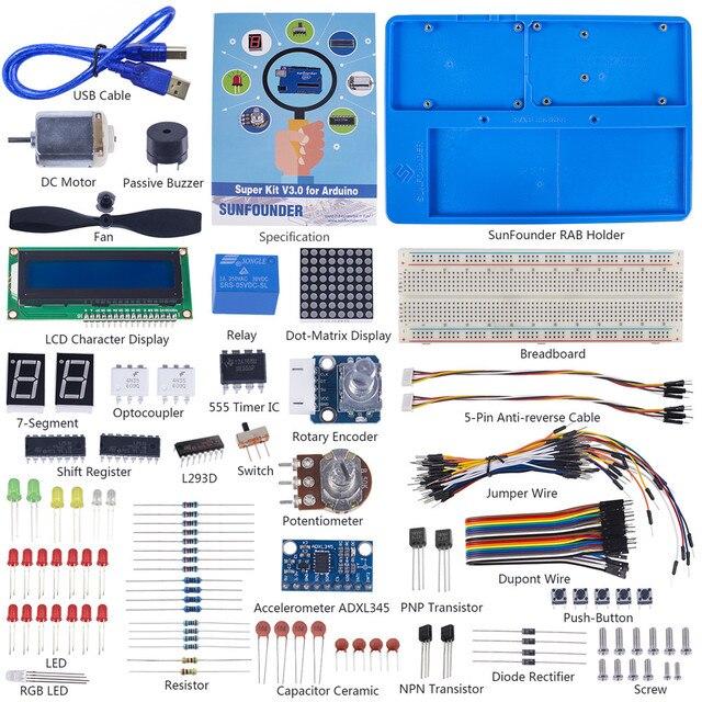 SunFounder Elektronik DIY Süper Başlangıç Kiti V3.0 Öğretici Kitap Arduino UNO için R3 Mega 2560 (kontrol panosu dahil değildir)