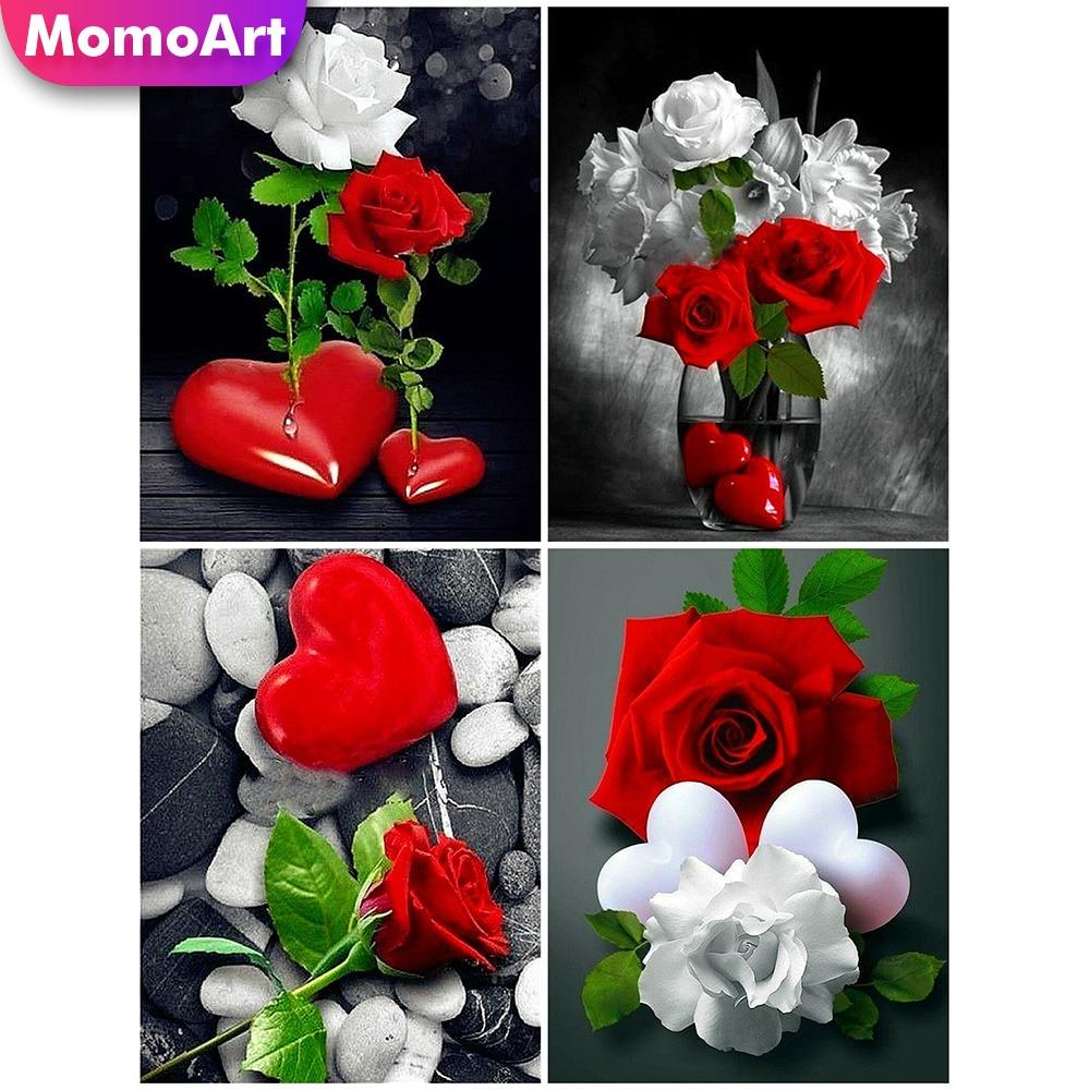 MomoArt Diamond Painting Flowers Embridery Full Square Rhinestone DIY Mosaic Love Art