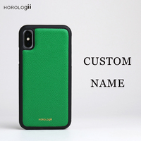 Horologii CUSTOM INITIALS FREE phone bumper case for Iphone X 7 plus Real cow leather mobile phone accessories