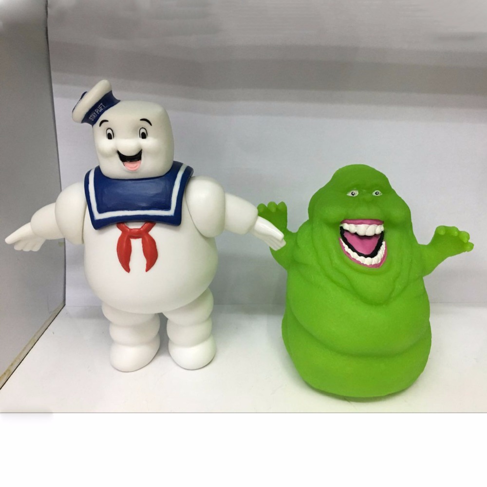 2pcs/set Vintage Ghostbusters 3 Stay Puft Marshmallow Man Slimer Sailor Action Figure Toy Dolls Home Decoration