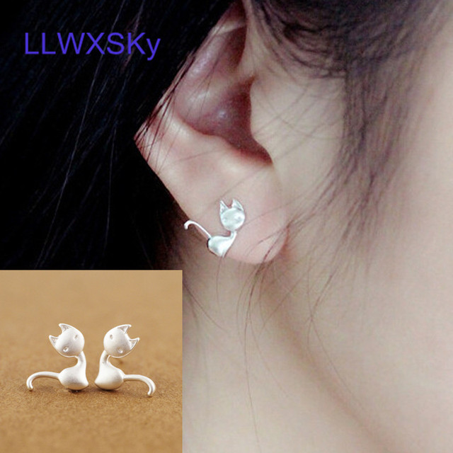 Hipster Fashion Cute Cat Kitten Stud Earrings For Women Lively Personalized Animal Korean Style