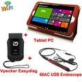 Win10 tablet + vpecker completo sistemas de diagnóstico do carro obd2 wifi scanner ferramenta de diagnóstico automotriz + 66ac inspeção câmera usb 5.5mm