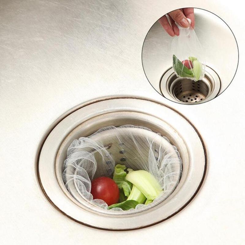 30PCS/ 100PCS Kitchen Sink Drain Hole Trash Strainer Mesh Disposable Garbage Bag Bathroom Kitchen Waste Bin Filter Bag Strainers