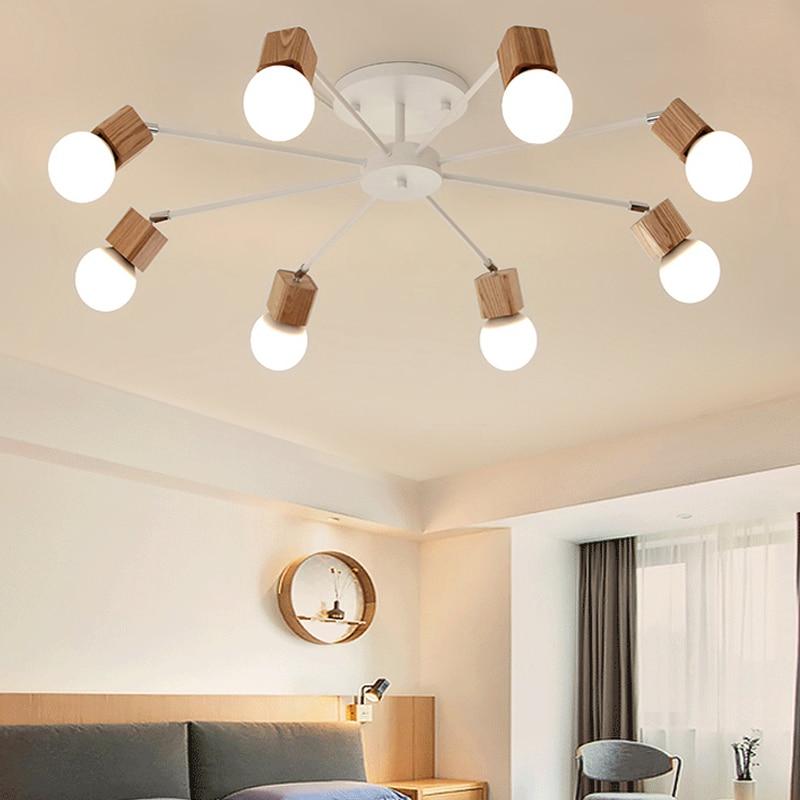 Modern Loft Living Room Wood Ceiling Lights Fixture Vintage Spider ceiling Lamp Multiple Adjustable E27 LED Home Decor Lighting in Ceiling Lights from Lights Lighting