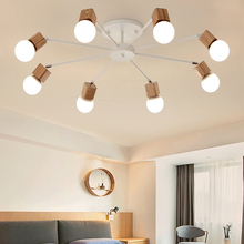 Lámpara LED E27 para decoración del hogar con múltiples ajustes, lámpara de techo de araña Vintage, accesorio de luces de techo de madera para sala de estar y Loft moderno