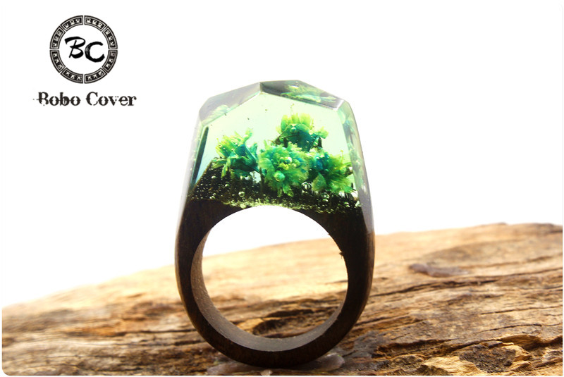 New Resin Magic Wooden Rings For Women Colorful Folwer Wooden Ring Jewelry Fashion Natural Landscape Wood Rectangle Ring Gifts ...
