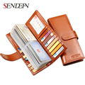 Sendefn Unisex Leather Card holder Large Capacity ID Card Case Lady Business Card Package Set Card Bag Wallet