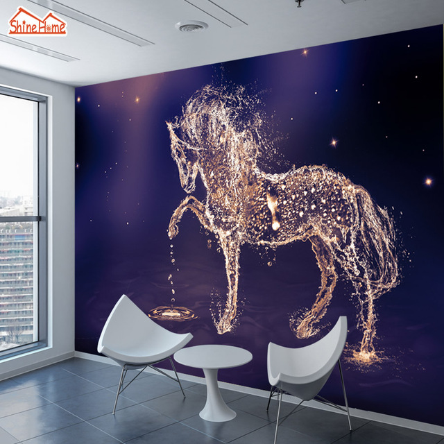 Shinehome 3d Glittering Running Horse Wallpapers 3 D Animal Wall