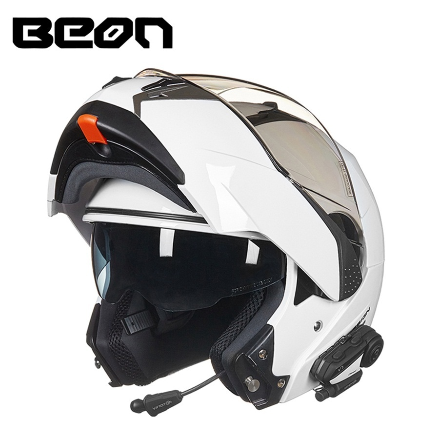 Free shipping 1pcs Double Lens Flip up 1000m V3 Bluetooth Helmet Intercom Headset Interphone Radio Racing Motorcycle Helmet