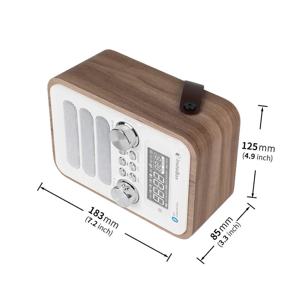InstaBox i10 cyfrowe Radio FM wielofunkcyjny odtwarzacz MP3 drewniany zegar uchwyt radiowy przenośny retro głośnik bluetooth Micro SD/TF