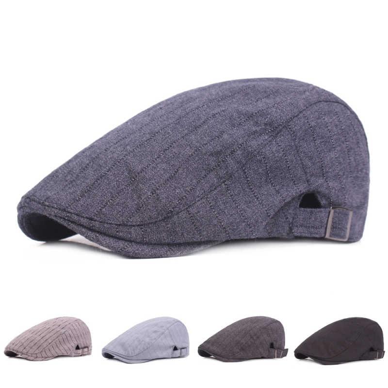 e1cddafaaf3 HT1757 2018 New Fashion Berets Striped Men Women Beret Caps Retro Cotton Duckbill  Ivy Flat Caps