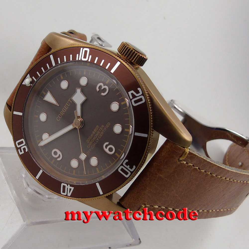 41mm corgeut coffee dial PVD case Sapphire Glass miyota automatic mens Watch C74 цена и фото