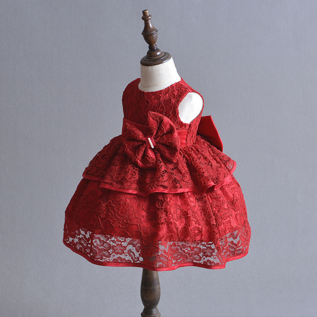 cbbe2f26c 1 Year Old Birthday Baby Girl Dresses Red Bow Party Wear Vestido ...