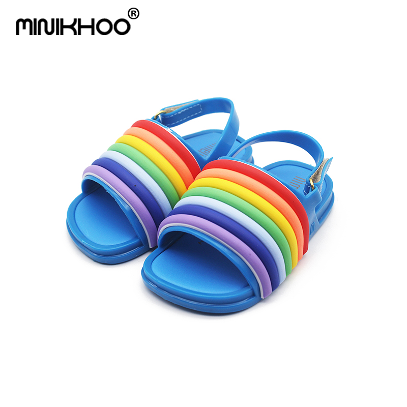 Mini Melissa 2018 New Rainbow Jelly Sandals Girl Shoes Non-slip Girl Beach Sandals Melissa Baby Jelly Sandals High Quality