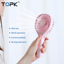 TOPK Mini USB Fan Handhold Fans Rechargerble Portable Cooling Travel Gadgets for Office PC Laptop Desktop Cooler Fan Ventilador xiaomi youpin vh portable handhold fan