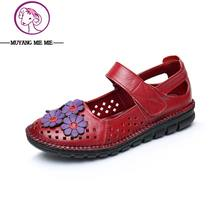 Plus Size (35-41) Flat Summer Sandals For Women 2017 Mother Shoes Genuine Leather Flower shoes Flat Maternity Shoes Women Sandal