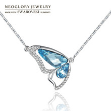 Neoglory MADE WITH SWAROVSKI ELEMENTS Crystal & Rhinestone Charm Butterfly Style Necklace Exquisite For Women Trendy Gift(China)