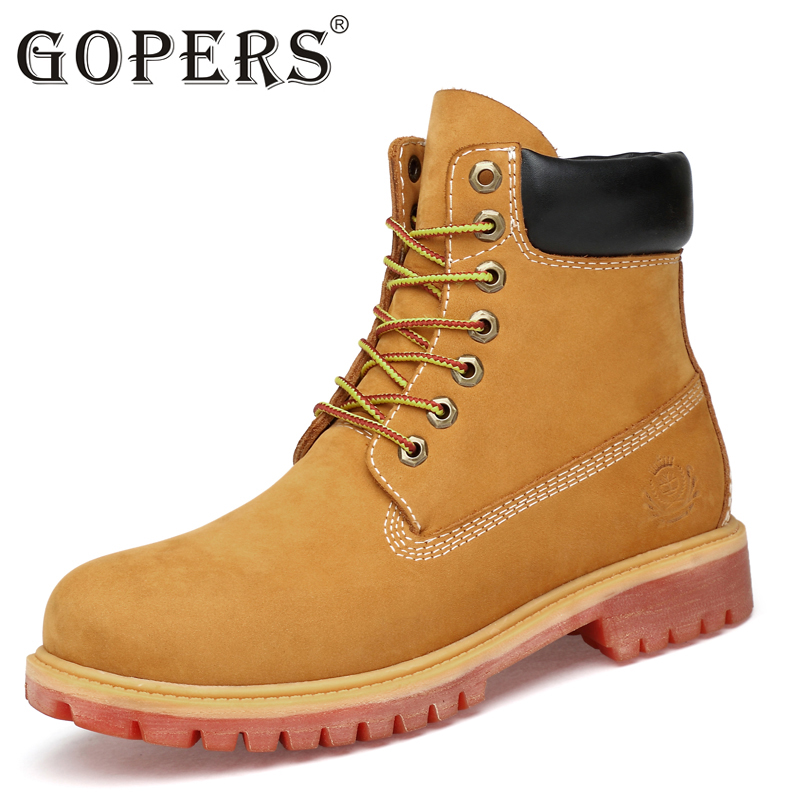 GOPERS Genuine Leather Men Boots Ankle Boots New Martin Boots Shoes Men Fashion Shoes Men Autumn And Winter Men Boots 36-47