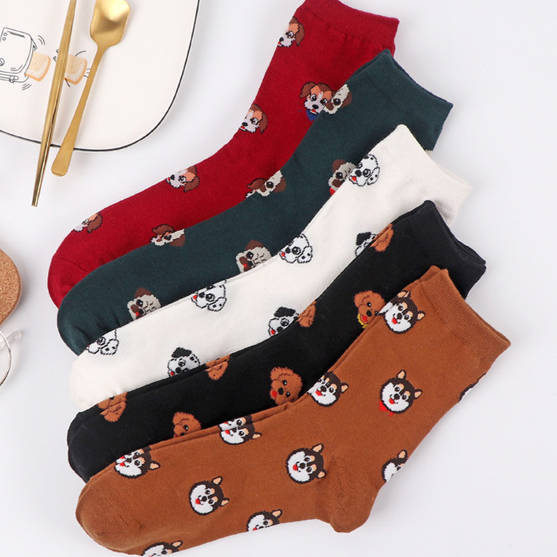 women cartoon cute cotton dog   socks   novelty husky cozy ainmal   socks   crazy happy teen white   socks   japanese fashion fun   sock