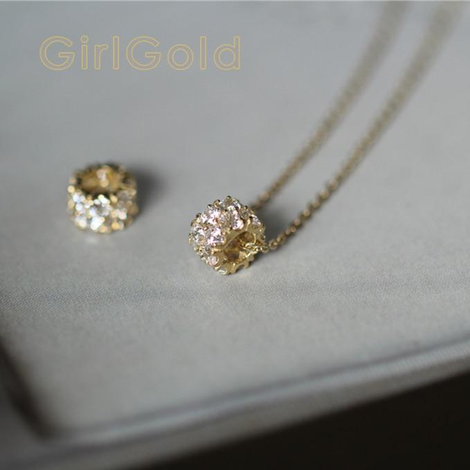 9 K véritable or massif charme cristal collier bijoux tchèque CZ cristal minimaliste Simple Style victorien