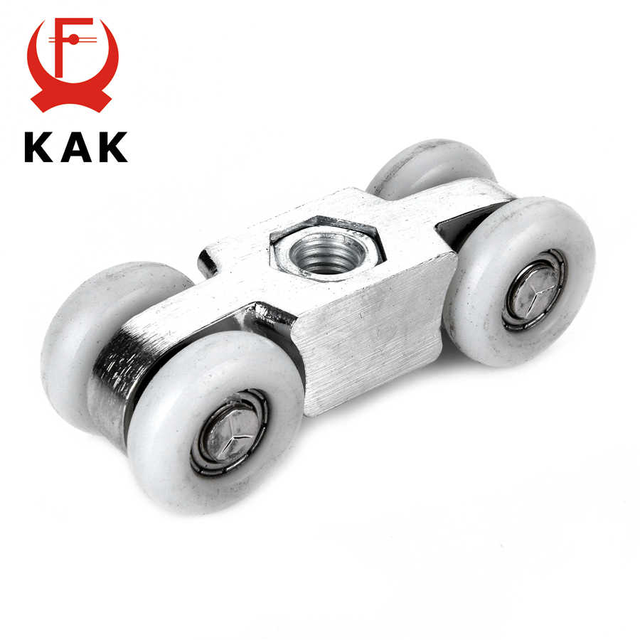 KAK, rodillo de puerta corredera plegable de aleación de Zinc, 70KG, dormitorio, sala de reuniones, puerta de madera, ruedas colgantes, bisagra cruzada plegable para muebles