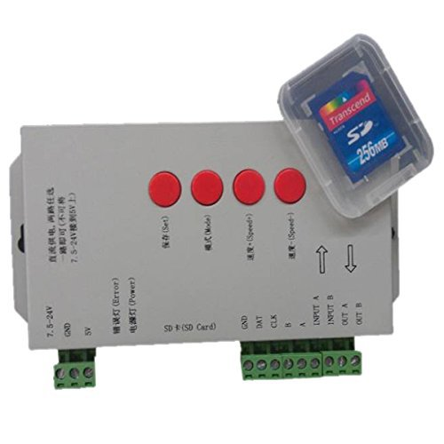 цена на LPD6803/DMX512/WS2811 DC5-24V RGB Pixel Controller for led strip/pixel/module/string+256MB sd card+Edit DIY program software