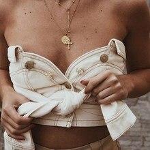 2018 Ladies Bandage Denim Bralette Button White Strapless Tube Tops Tied Bustier Tank Sleeveless Wrap Chest Crop