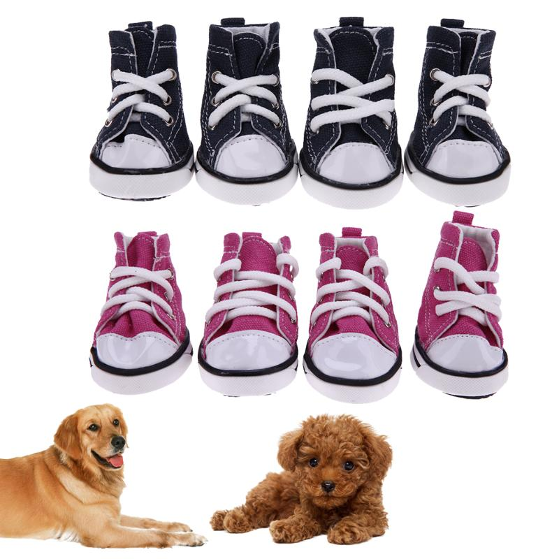 4pcs Denim Pet Dog Shoes Anti-slip Waterproof Sporty Sneakers Booties Breathable Booties For Small Cats Dogs Puppy Dog Shoes