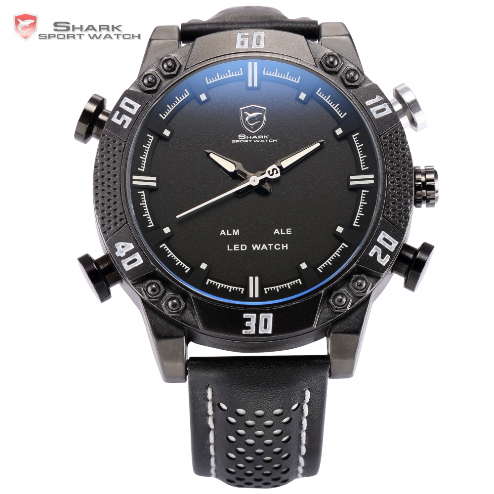 Shark Sport Watch Dual Time Auto Date Display Alarm Black Leather Band LED Wristwatch Military Men Quartz Digital Clock / SH264 weide wh2309b military sports quartz watch double movts analog digital led dual time display alarm wristwatch for men