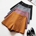 2017 primavera verano moda negro pantalones cortos de cintura alta de la mujer nueva sólido púrpura pantalones cortos ocasionales delgados azul para las señoras envío gratis