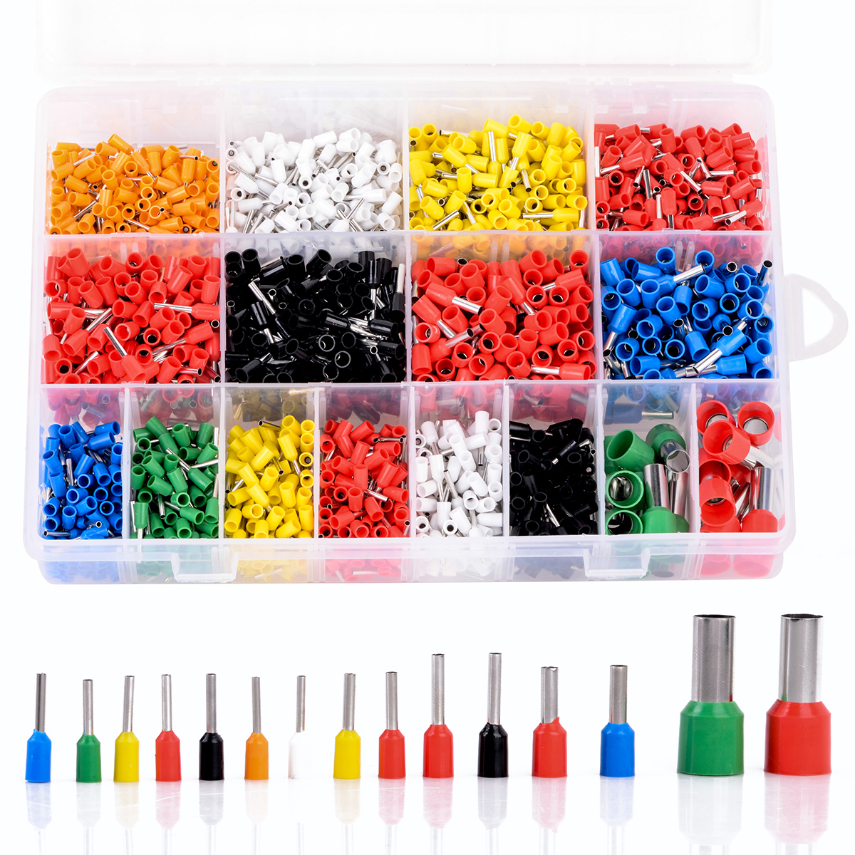 2120pcs Insulated Cord Pin End Terminals Tin-Plated Copper Crimp Connector Ferrules Kit Set For 22-5AWG 800pcs cable bootlace copper ferrules kit set wire electrical crimp connector insulated cord pin end terminal hand repair kit