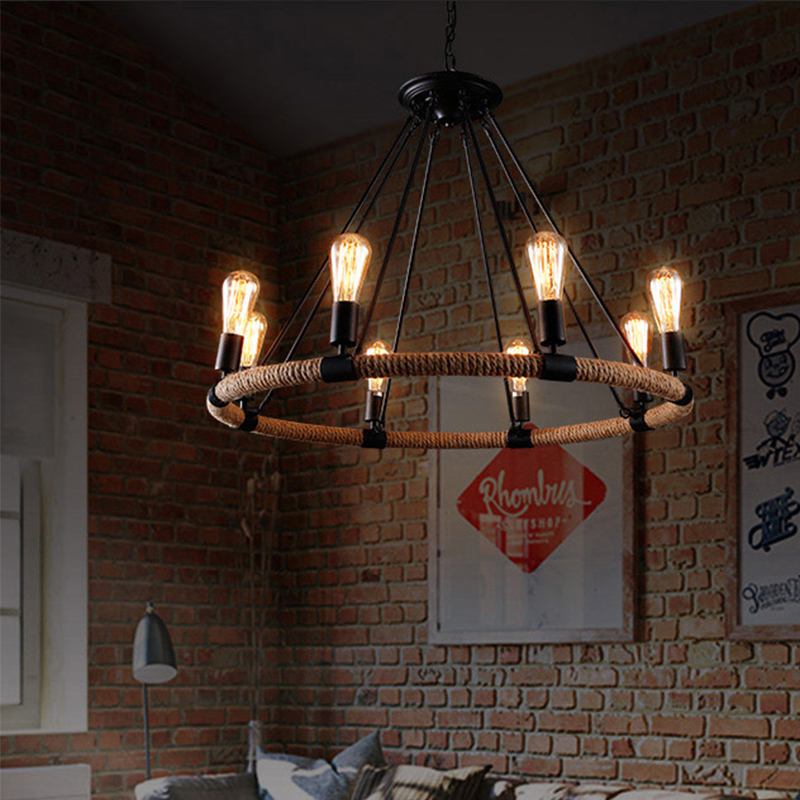 New design Retro Country Loft Style Hemp Rope Edison Vintage Industrial Pendant Lighting Lamp With E14 Lights For Dinning Room retro loft style industrial vintage pendant lights hanging lamps edison pendant lamp for dinning room bar cafe