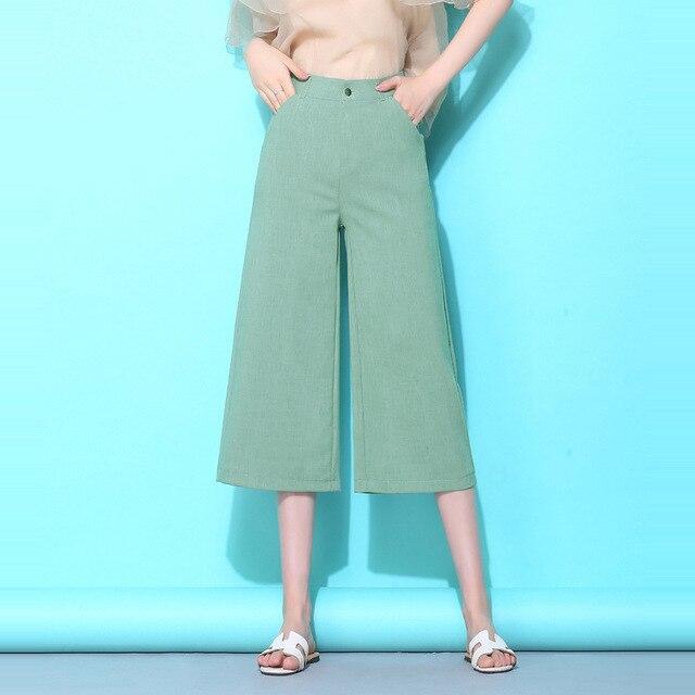 1a269b8c3d49 Cotton linen pants women wide leg pants female summer cropped trousers high  waist casual pants OL office lady plus size S-5XL