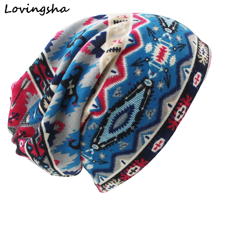 LOVINGSHA Brand Autumn Winter Dual-use Hat For Ladies thin Vintage Geometric Design   Skullies     Beanies   Women Scarf Face Mask HT024
