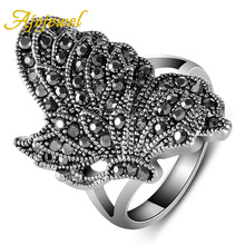 Ajojewel Brand #7-9 Unique Elegant Vintage New Style Silver Color Black CZ Diamond Butterfly Ring Women Animal Jewelry