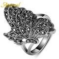 Ajojewel brand #7-9 elegante original do vintage novo estilo de cor prata preto cz anel de diamante borboleta mulheres animais jóias