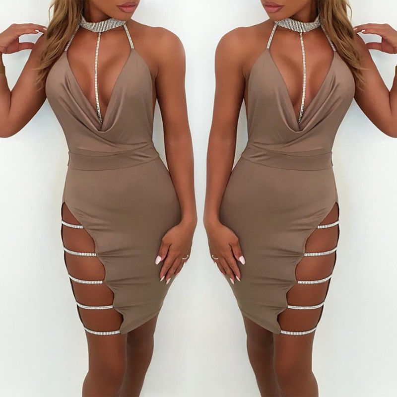 HTB1CRIpOgHqK1RjSZFgq6y7JXXaJ 2019 New Sexy Women's Bandage Bodycon Evening Party V Neck Club Short Mini Dress