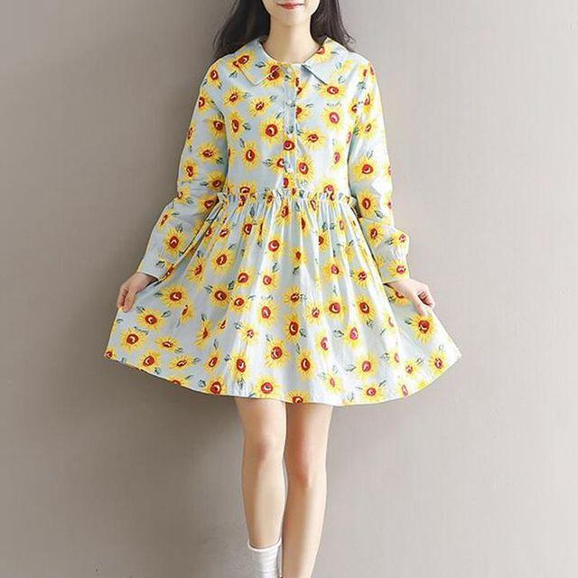 Maternity Clothes New Arrival Dresses for Pregnant Women Vintage Sunflower Print Cotton Losse Casual Fashion Pregnancy Dress